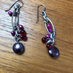Beaded Silver Earrings